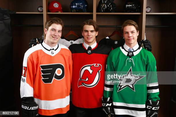 Nolan Patrick second overall pick of the Philadelphia Flyers Nico Hischier first overall pick of the New Jersey Devils Miro Heiskanen third overall...