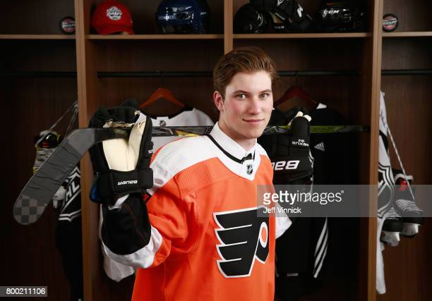Nolan Patrick second overall pick of the Philadelphia Flyers poses for a portrait during Round One at United Center on June 23 2017 in Chicago...