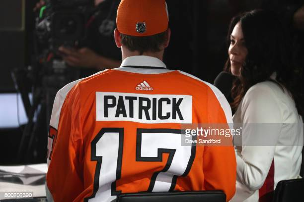 Nolan Patrick second overall pick of the Philadelphia Flyers takes questions from the media during Round One of the 2017 NHL Draft at United Center...
