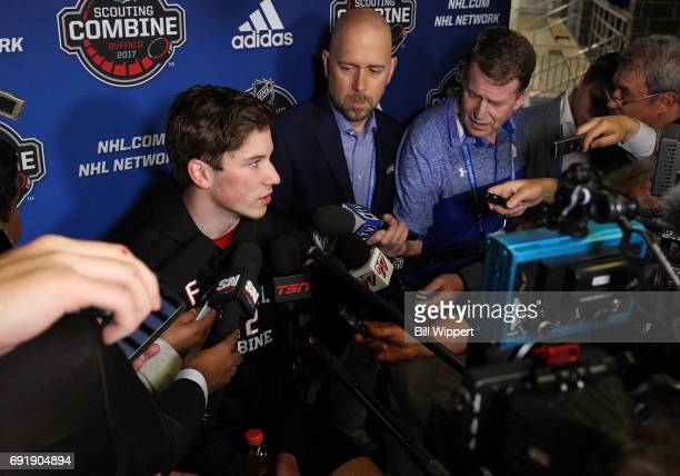 Nolan Patrick speaks with the media during the NHL Combine at HarborCenter on June 3 2017 in Buffalo New York