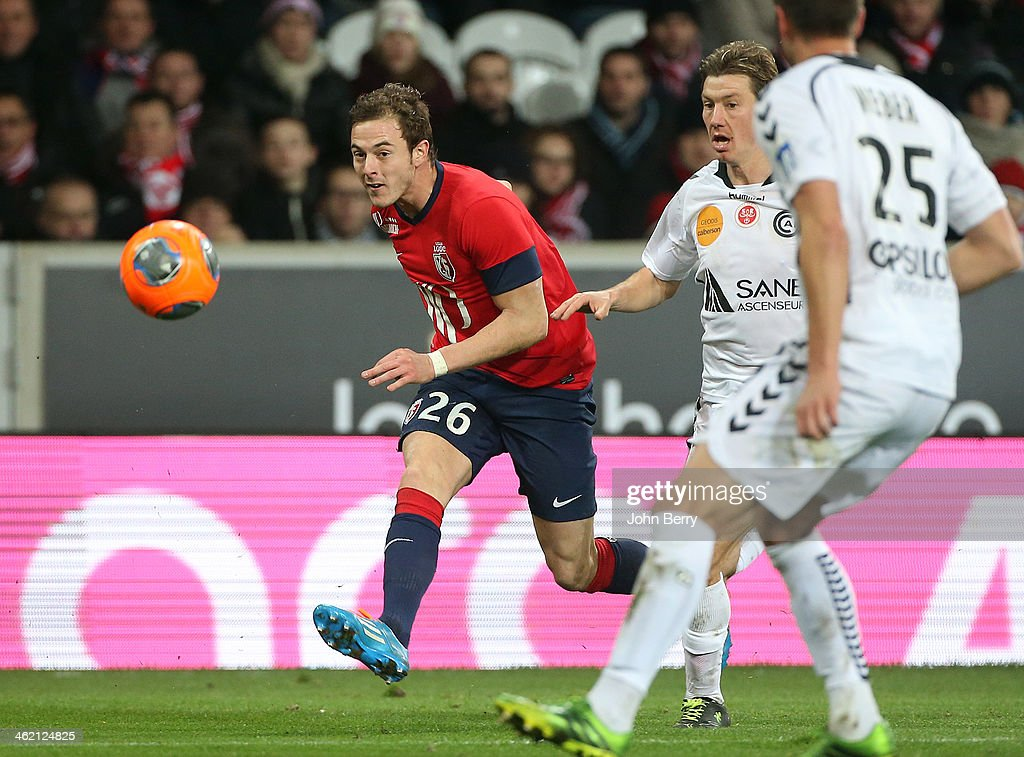 <a gi-track='captionPersonalityLinkClicked' href=/galleries/search?phrase=Nolan+Roux&family=editorial&specificpeople=5969784 ng-click='$event.stopPropagation()'>Nolan Roux</a> of Lille in action during the french Ligue 1 match between LOSC Lille and Stade de Reims at the Grand Stade Pierre Mauroy on January 12, 2014 in Lille, France.