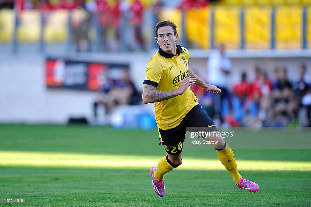 <a gi-track='captionPersonalityLinkClicked' href=/galleries/search?phrase=Nolan+Roux&family=editorial&specificpeople=5969784 ng-click='$event.stopPropagation()'>Nolan Roux</a> of LOSC in action during the practice match between LOSC vs. KV Courtrai at Stade de l'Epopee on July 16, 2014 in Calais, France.
