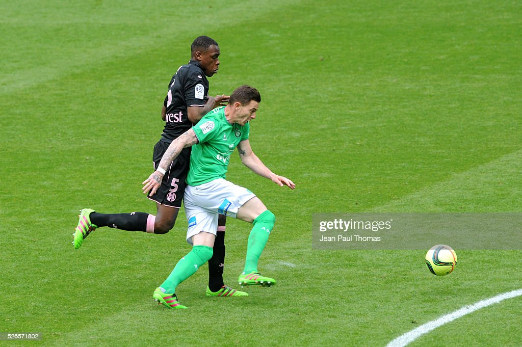Nolan ROUX of Saint Etienne during the French Ligue 1 match between AS Saint Etienne and Toulouse FC at Stade Geoffroy-Guichard on April 30, 2016 in Saint-Etienne, France.