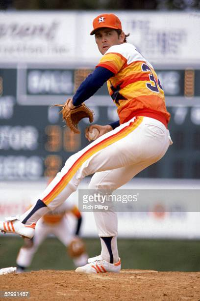Nolan Ryan of the Houston Astros pitches during an MLB game at The Astrodome in Houston Texas