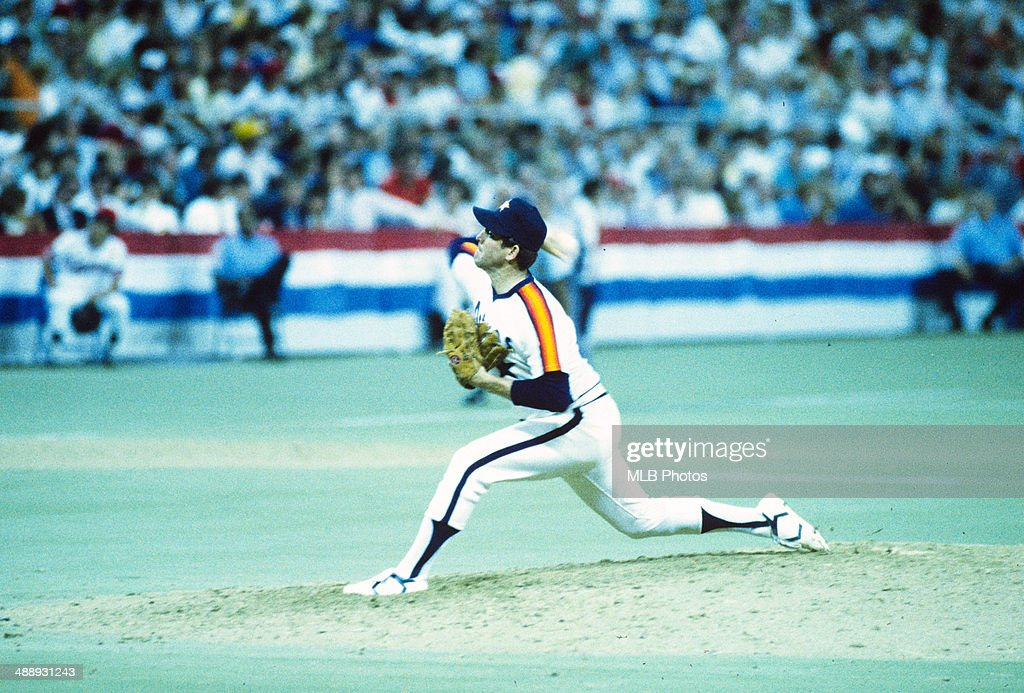 Nolan Ryan #34 of the Houston Astros pitches during the 56th MLB All-Star Game against the American League at the Hubert H. Humphrey Metrodome, on Tuesday, 16, 1985 in Minneapolis, Minnesota.