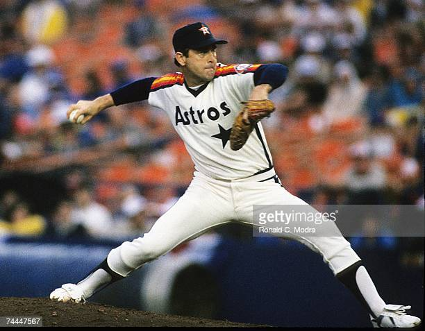 Nolan Ryan of the Houston Astros pitching to the New York Mets during the League Championship Series at Shea Stadium in October 1986