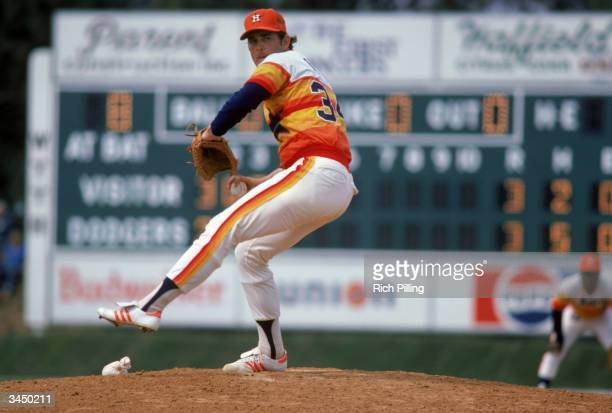 Nolan Ryan of the Houston Astros winds up a pitch during a 1980 season game