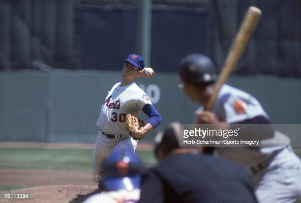 Nolan Ryan of the New York Mets pitches to the Atlanta Braves at Shea Stadium during a May 191968 game in Flushing New York