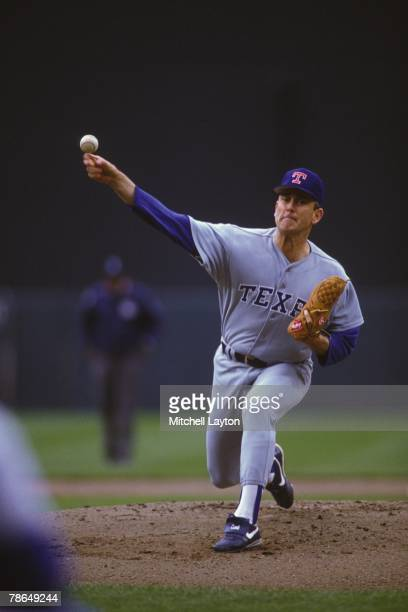Nolan Ryan of the Texas Rangers pitches during a baseball game against the Baltimore Orioles on June 1 1992 at Memorial Stadium in Baltimore Maryland