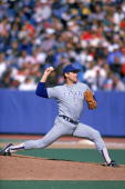 Nolan Ryan of the Texas Rangers pitches during the 1989 season against the Toronto Blue Jays at Skydome in Toronto Ontario Canada
