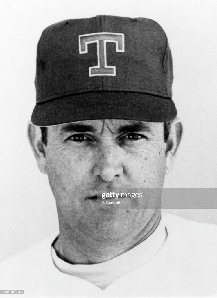 <a gi-track='captionPersonalityLinkClicked' href=/galleries/search?phrase=Nolan+Ryan&family=editorial&specificpeople=202212 ng-click='$event.stopPropagation()'>Nolan Ryan</a> #34 of the Texas Rangers poses for a portrait in March, 1990 at Pompano Beach Municipal Stadium in Pompano Beach, Florida.