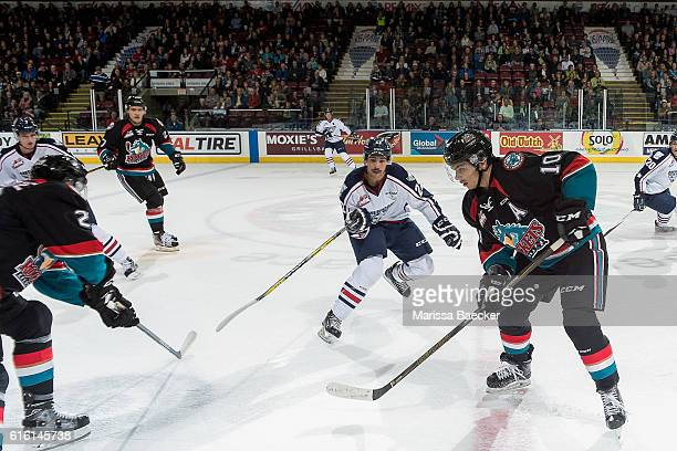 Nolan Yaremko of the TriCity Americans looks for the pass to Nick Merkley of the Kelowna Rockets on October 21 2016 at Prospera Place in Kelowna...