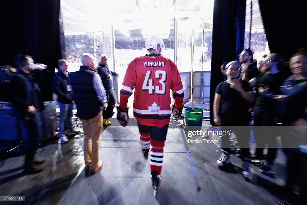 Nolan Yonkman of Canada walks onto the ice for the third period during the match between Team USA and Team Canada at Rod Laver Arena on June 17 2016...