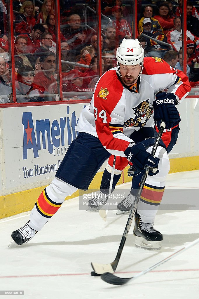 Nolan Yonkman #34 of the Florida Panthers controls the puck during an NHL game against the Washington Capitals at Verizon Center on March 7, 2013 in Washington, DC.