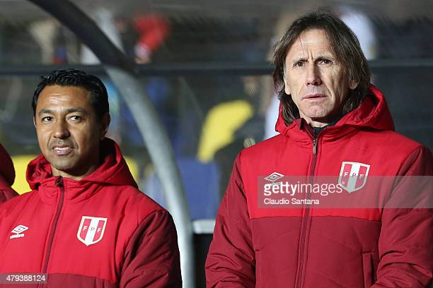 Nolberto Solano coach assistant and Ricardo Gareca coach of Peru look on during the 2015 Copa America Chile Third Place Playoff match between Peru...