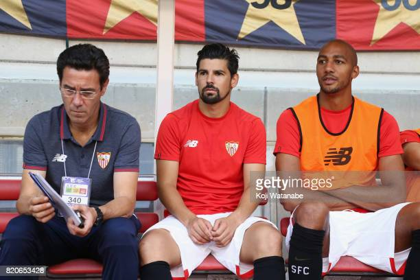 Nolito and Steven N'Zonzi of Sevilla look on prior to the preseason friendly match between Kashima Antlers and Sevilla FC at Kashima Soccer Stadium...