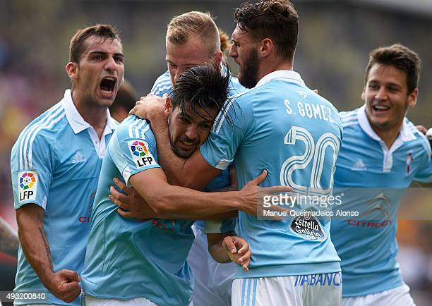 Nolito of Celta celebrates scoring his team's second goal with his teammates Sergi Gomez John Guidetti and Jonathan Castro during the La Liga match...