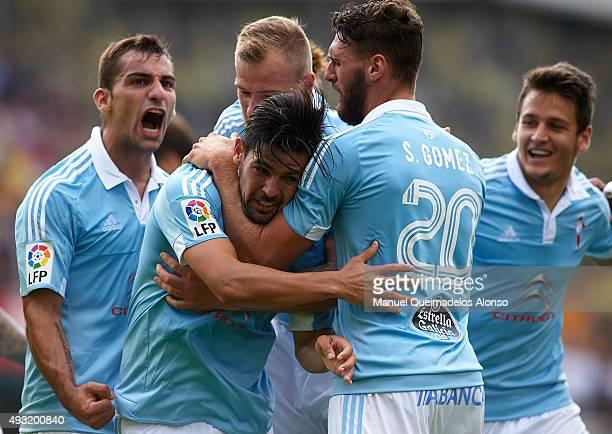 Nolito of Celta celebrates scoring his team's second goal with his teammates Sergi Gomez John Guidetti and Jonathan Castro during the La Liga match...