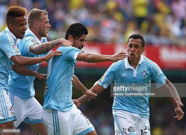 Nolito of Celta celebrates scoring his team's second goal with his teammates Fabian Orellana John Guidetti and Levy Clement Madinda during the La...