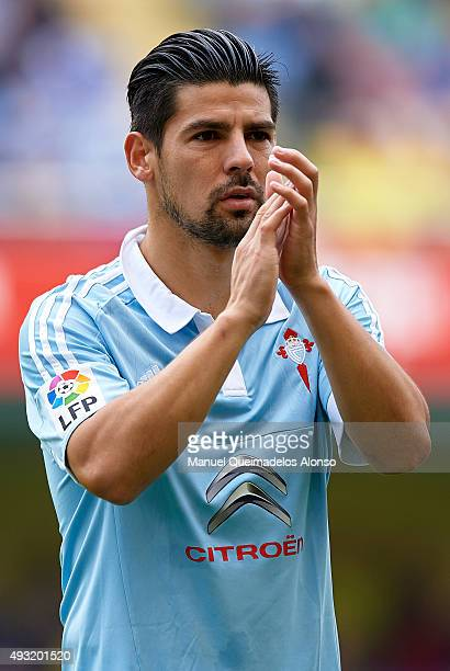 Nolito of Celta greets the public prior to the La Liga match between Villarreal CF and RC Celta de Vigo at El Madrigal Stadium on October 18 2015 in...