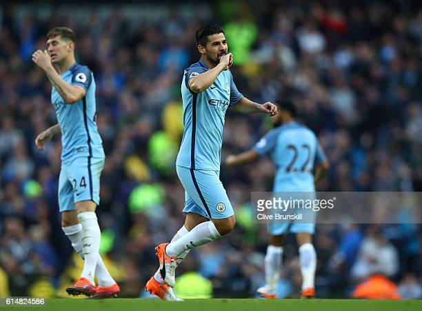 Nolito of Manchester City celebrates scoring his sides first goal during the Premier League match between Manchester City and Everton at Etihad...