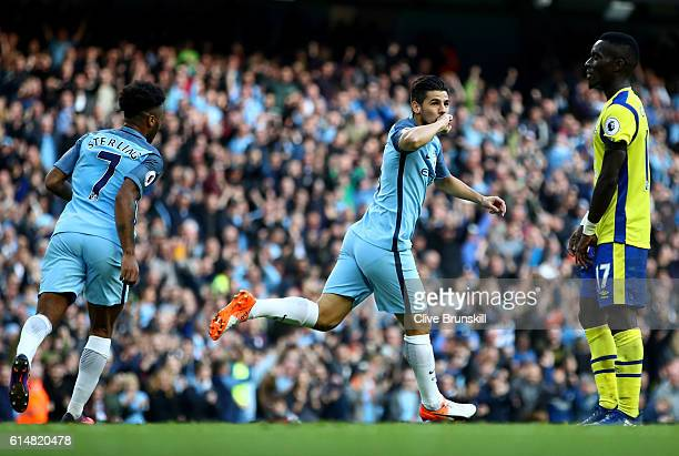 Nolito of Manchester City celebrates scoring the equalising goal during the Premier League match between Manchester City and Everton at Etihad...