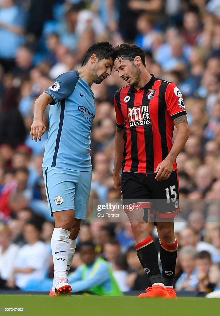 Nolito of Manchester City (L) head butts Adam Smith of AFC Bournemouth (R) during the Premier League match between Manchester City and AFC Bournemouth at the Etihad Stadium on September 17, 2016 in Manchester, England.