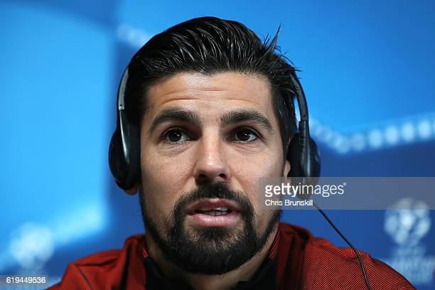 Nolito of Manchester City speaks during a press conference ahead of the UEFA Champions League match between Manchester City and Barcelona at the City...