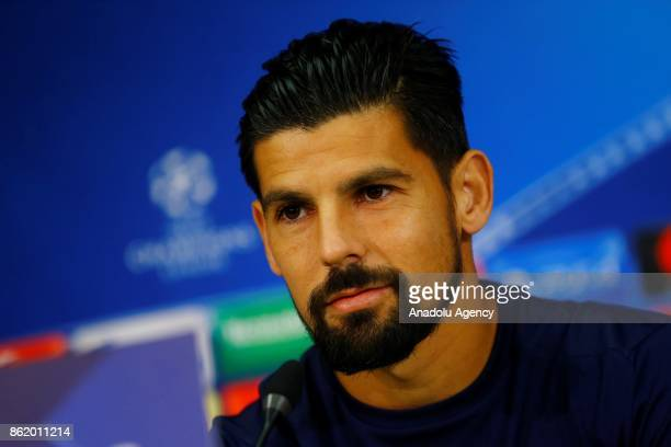 Nolito of Sevilla FC and Head Coach Eduardo Berizzo of Sevilla FC hold a press conference ahead of the the UEFA Champions League group match against...