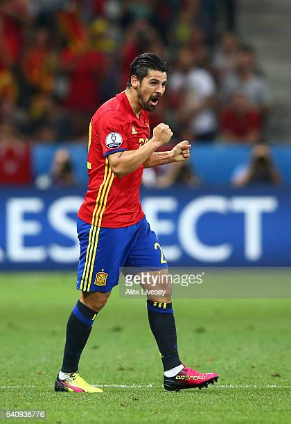 Nolito of Spain celebrates scoring his sides second goal during the UEFA EURO 2016 Group D match between Spain and Turkey at Allianz Riviera Stadium...