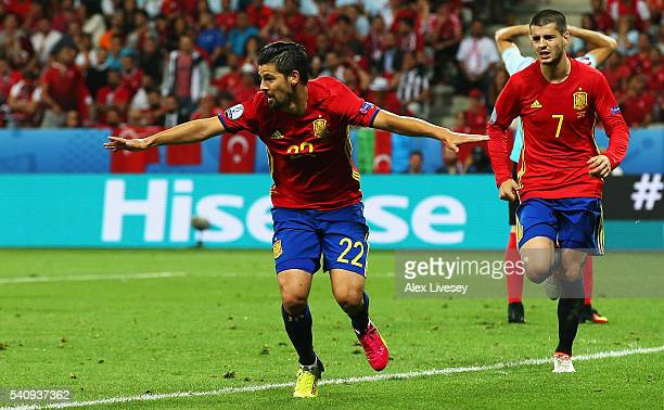 Nolito of Spain celebrates with Alvaro Morata of Spain after he scores his sides second goal during the UEFA EURO 2016 Group D match between Spain...
