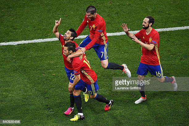Nolito of Spain celebrates with his team mates after he scores his sides second goal during the UEFA EURO 2016 Group D match between Spain and Turkey...