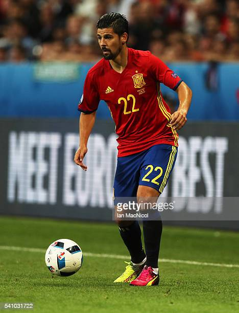 Nolito of Spain controls the ball during the UEFA EURO 2016 Group D match between Spain and Turkey at Allianz Riviera Stadium on June 17 2016 in Nice...