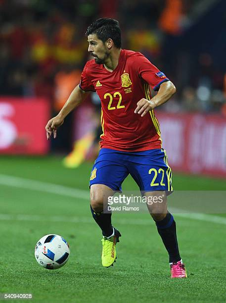 Nolito of Spain runs with the ball during the UEFA EURO 2016 Group D match between Spain and Turkey at Allianz Riviera Stadium on June 17 2016 in...