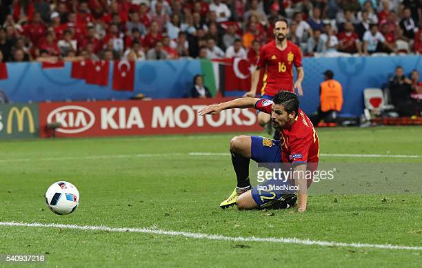 Nolito of Spain scores during the UEFA EURO 2016 Group D match between Spain and Turkey at Allianz Riviera Stadium on June 17 2016 in Nice France