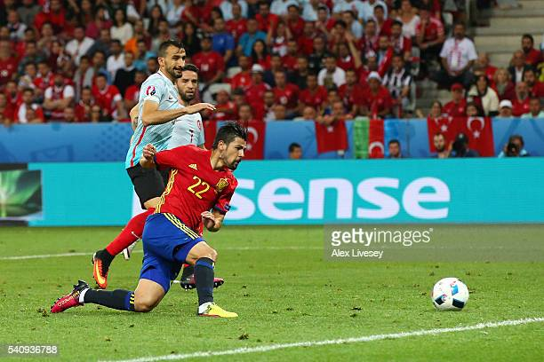 Nolito of Spain scores his sides second goal during the UEFA EURO 2016 Group D match between Spain and Turkey at Allianz Riviera Stadium on June 17...