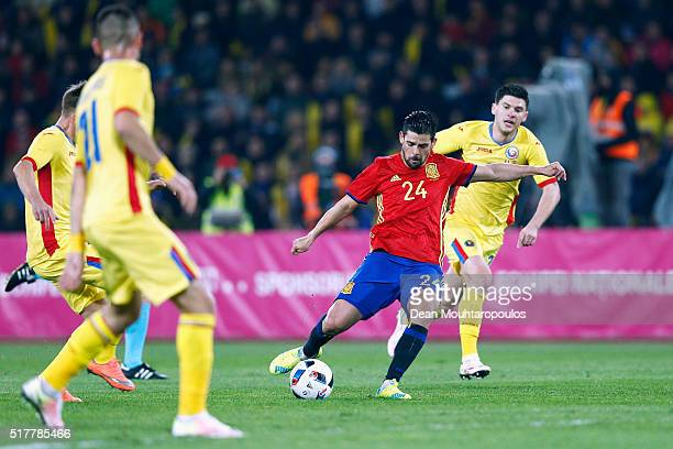 Nolito of Spain shoots on goal during the International Friendly match between Romania and Spain held at the Cluj Arena on March 27 2016 in...