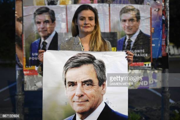 Nolwenn supporter of French presidential election candidate for the rightwing Les Republicains party Francois Fillon poses with an election campaign...