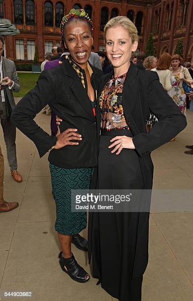 Noma Dumezweni and Denise Gough attend the Olivier Awards Summer Party in celebration of the new exhibition 'Curtain Up' at The VA on July 4 2016 in...