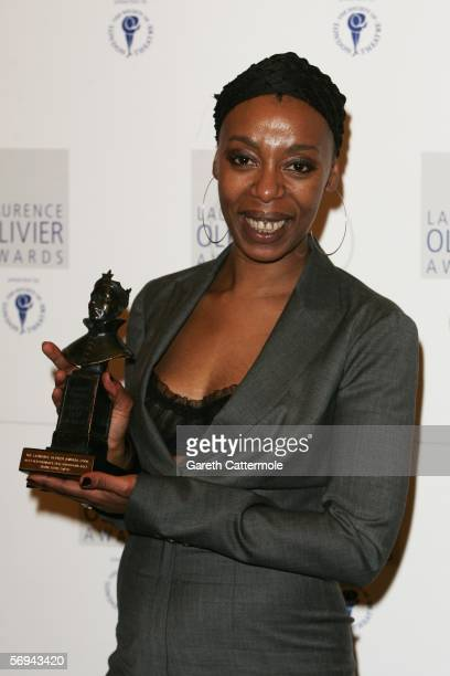 Noma Dumezweni poses in the Awards Room with the award for Best Performance in a Supporting Role for A Raisin in the Sun at the Laurence Olivier...