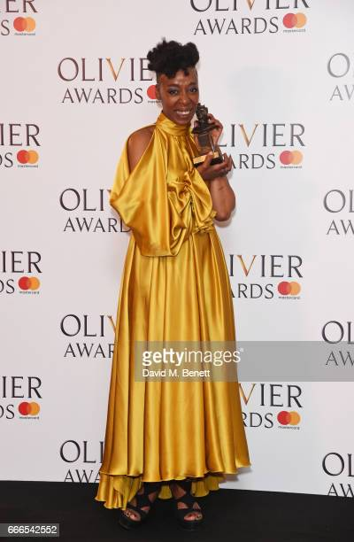 Noma Dumezweni winner of the Best Actress in a Supporting Role for 'Harry Potter And The Cursed Child' poses in the winners room at The Olivier...