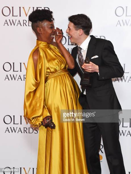 Noma Dumezweni winner of the Best Actress in a Supporting Role for 'Harry Potter And The Cursed Child' and Anthony Boyle winner of the Best Actor in...