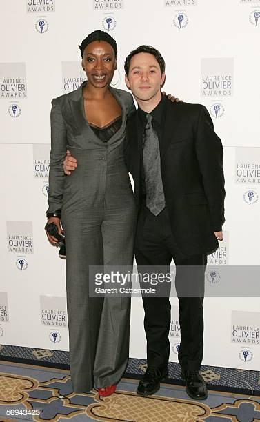 Noma Dumezweni winner of the Best Performance in a Supporting Role Award for A Raisin in the Sun and Reece Shearsmith pose in the Awards Room at the...