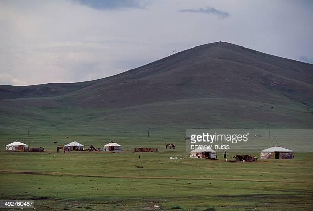 Nomad camp with yurts Gobi Desert Mongolia