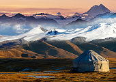 Nomadic tents known as Yurt at the Almaty Mountains, Kazakhstan