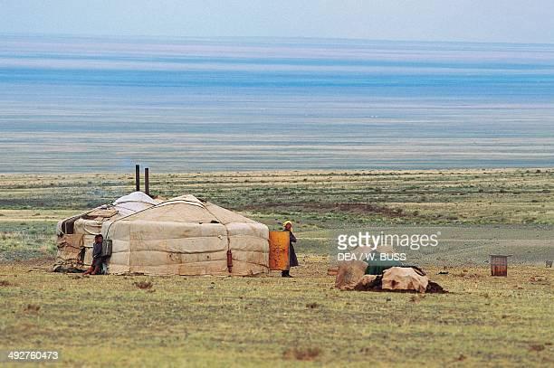 A nomadic yurt Gobi Desert Mongolia