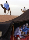 Nomads ride their camels past a camp in the Moroccan desert on March 16 2013 in M'hamid El Ghizlane southeast of Zagora AFP PHOTO/FADEL SENNA