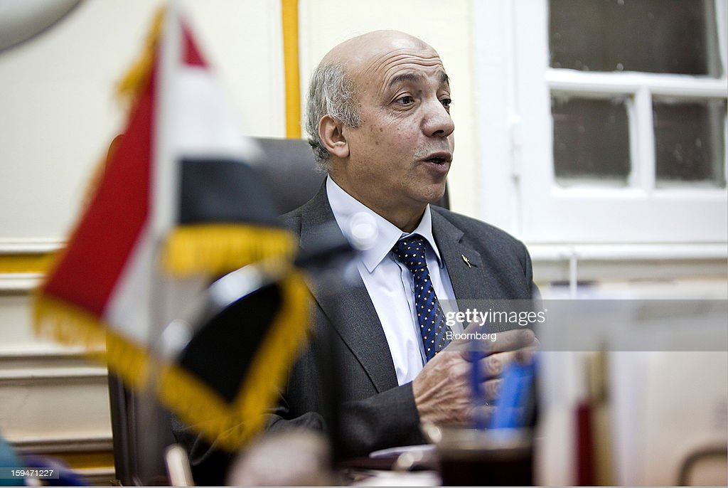 Nomani Nomani, vice chairman of the General Authority for Supply Commodities, speaks during an interview at his office in Cairo, Egypt, on Saturday, Jan. 12, 2013. Egypt's state-run General Authority for Supply Authority is considering adding Serbia and Hungary to its list of approved wheat suppliers, Nomani said in early Jan. Photographer: Shawn Baldwin/Bloomberg via Getty Images