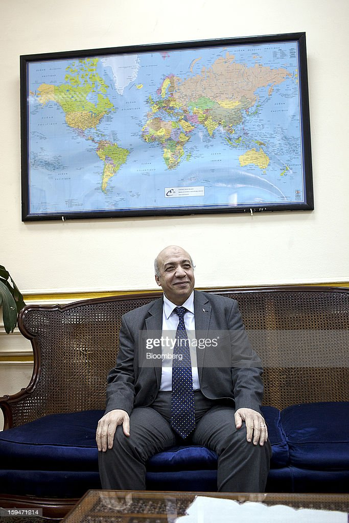 Nomani Nomani, vice chairman of the General Authority for Supply Commodities, poses for a photograph during an interview at his office in Cairo, Egypt, on Saturday, Jan. 12, 2013. Egypt's state-run General Authority for Supply Authority is considering adding Serbia and Hungary to its list of approved wheat suppliers, Nomani said in early Jan. Photographer: Shawn Baldwin/Bloomberg via Getty Images