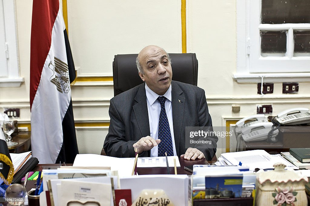 Nomani Nomani, vice chairman of the General Authority for Supply Commodities, sits at his desk and speaks during an interview at his office in Cairo, Egypt, on Saturday, Jan. 12, 2013. Egypt's state-run General Authority for Supply Authority is considering adding Serbia and Hungary to its list of approved wheat suppliers, Nomani said in early Jan. Photographer: Shawn Baldwin/Bloomberg via Getty Images